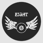 Eight ball with wings - billiards - pool round stickers