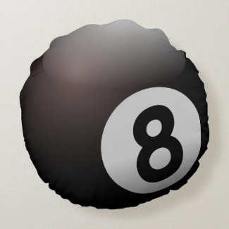 Eight Billiard Ball Round Pillow