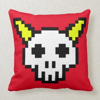 Eight Bit Horned Skull Pillow