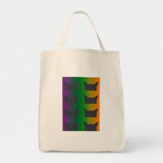 Eight black cats on rainbow gradient tote bag