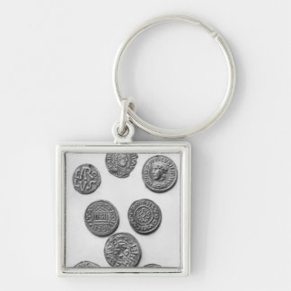 Eight Carolingian coins Silver-Colored Square Keychain