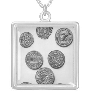 Eight Carolingian coins Silver Plated Necklace