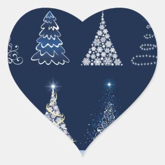 Eight Christmas Trees Heart Sticker