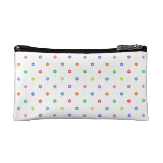 Eight Color Cute Flowers White Small Cosmetic Bag Makeup Bag