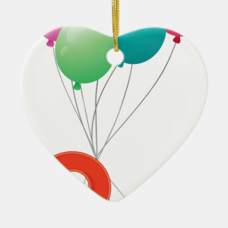 Eight colourful balloons ceramic ornament