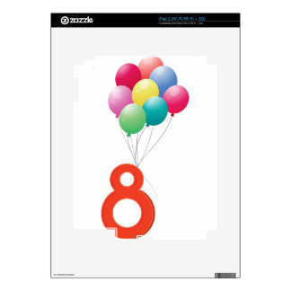 Eight colourful balloons skins for the iPad 2