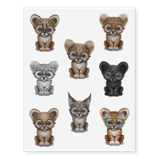 Eight Cute Big Cat Cubs Wearing Glasses Temporary Tattoos