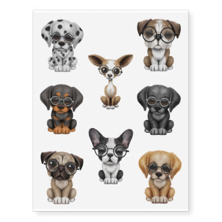 Eight Cute Puppy Dogs Wearing Glasses Temporary Tattoos