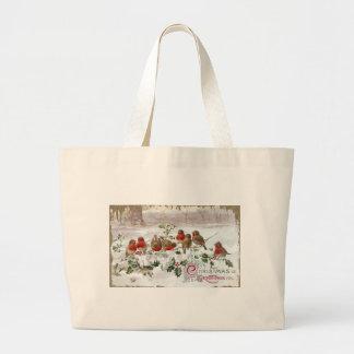 Eight English Robins on Holly Vintage Christmas Large Tote Bag