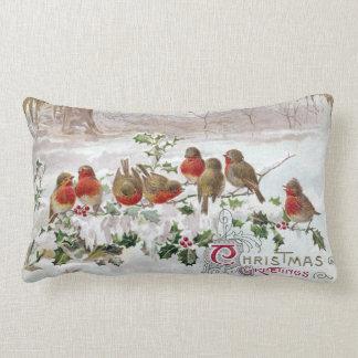 Eight English Robins on Holly Vintage Christmas Lumbar Pillow