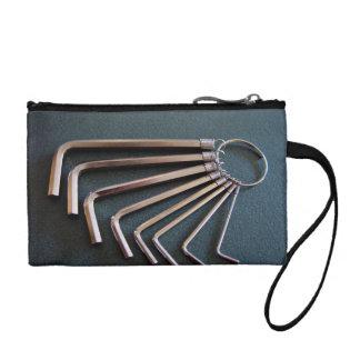 Eight hex Allen keys arranged on table Coin Wallet