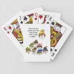 "Eight Humorous Bridge Player Ladies Playing Cards<br><div class=""desc"">Printed from an original watercolor painting of mine. These funny ladies are part of my Whimsical Lady series. They remind all of us not to take ourselves OR life too serious. Their outrageous attire includes jaunty hats and feathers, and along with over-the-top jewelry they make a statement all their own....</div>"