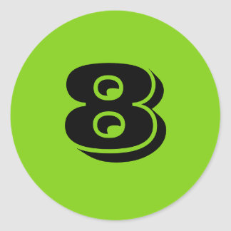 Eight Large Round Green Number Stickers by Janz