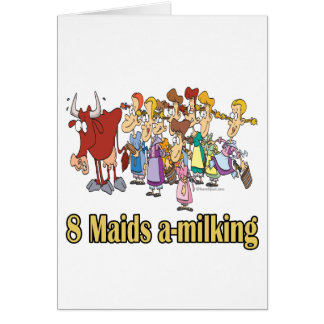 eight maids a-milking 8th eighth day christmas card