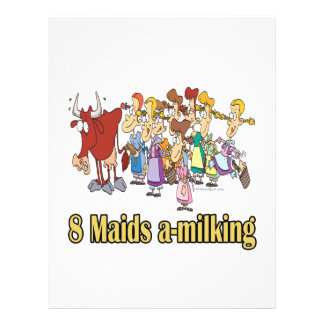 eight maids a-milking 8th eighth day christmas custom flyer