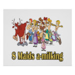 eight maids a-milking 8th eighth day christmas poster