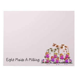Eight Maids A Milking Personalized Notepads