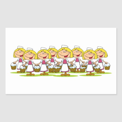 Eight Maids a-Milking Rectangle Stickers