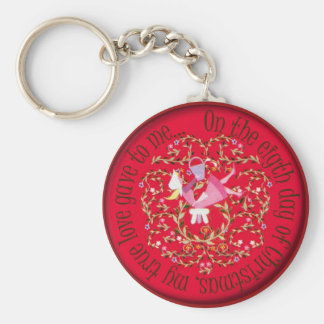 Eight maids amilking basic round button keychain