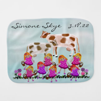 Eight Maids Baby Name Burp Cloth