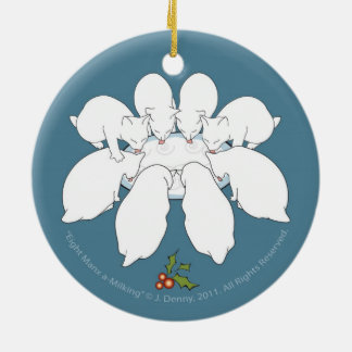 Eight Manx a-Milking... double sided Ceramic Ornament