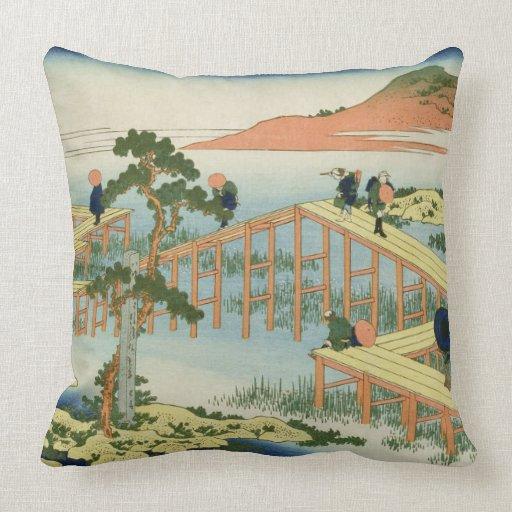Eight part bridge, province of Mucawa, Japan, c.18 Throw Pillows