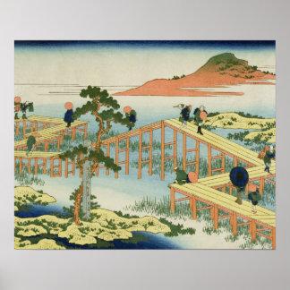 Eight part bridge, province of Mucawa, Japan, c.18 Poster