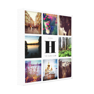 Eight Photo Collage with Monogram Family Art Canvas Print