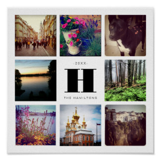 Eight Square Photo Collage with Family Monogram Poster