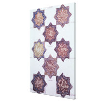 Eight tiles decorated with animals canvas print