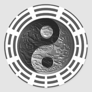 Eight Trigrams Yin Yang Embossed Dragon Classic Round Sticker