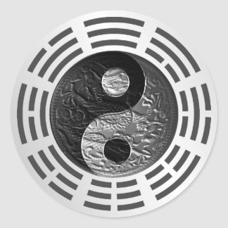 Eight Trigrams Yin Yang Embossed Dragon (size L) Classic Round Sticker