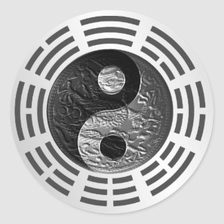 Eight Trigrams Yin Yang Embossed Dragon (size S) Classic Round Sticker