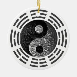 Eight Trigrams Yin Yang Embossed-Like Dragon Ceramic Ornament