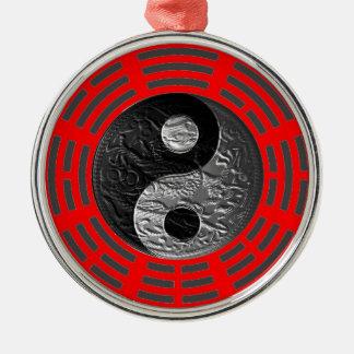 Eight Trigrams Yin Yang Embossed-Like Dragon Metal Ornament