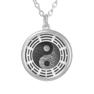 Eight Trigrams Yin Yang Embossed-Like Dragon Round Pendant Necklace