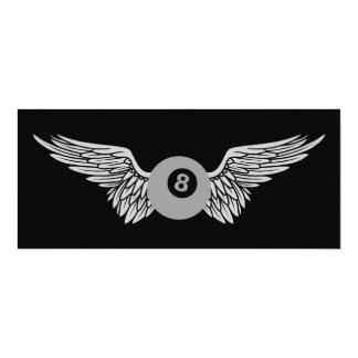 """eightball con alas invitación 4"""" x 9.25"""""""