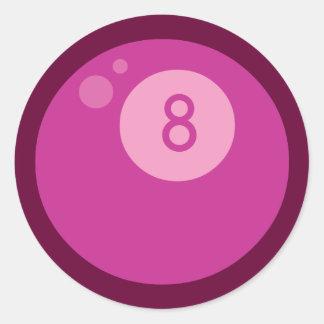 Eightball rosado pegatina redonda