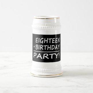 Eighteenth Birthdays : Eighteen + Birthday = Party 18 Oz Beer Stein