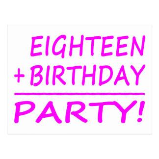 Eighteenth Birthdays Eighteen + Birthday Party Post Card