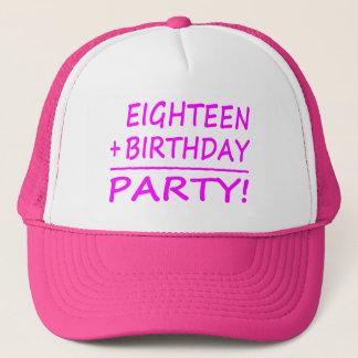 Eighteenth Birthdays : Eighteen + Birthday = Party Trucker Hat