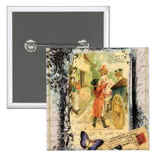 Eighteenth Century Couple Wedding Carriage Pinback Button