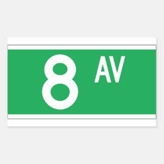 Eighth Av., New York Street Sign Rectangular Sticker