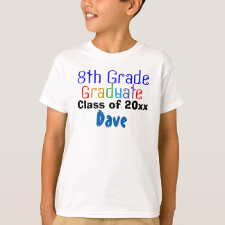 Eighth Grade Graduate Class of Colorful Name Boys T-Shirt