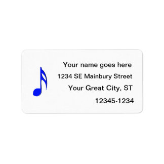 eighth note blue black musical address label