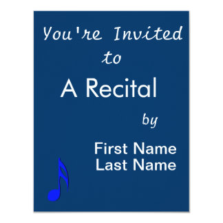 "eighth note blue black musical 4.25"" x 5.5"" invitation card"