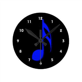 eighth note blue black musical round clock