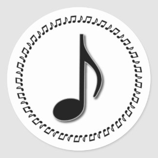 Eighth Note Music Design Classic Round Sticker