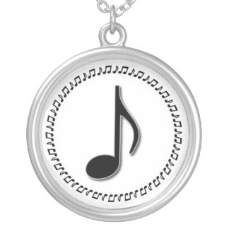 Eighth Note Music Design Silver Plated Necklace