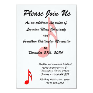"""eighth note red black music design.png 5"""" x 7"""" invitation card"""